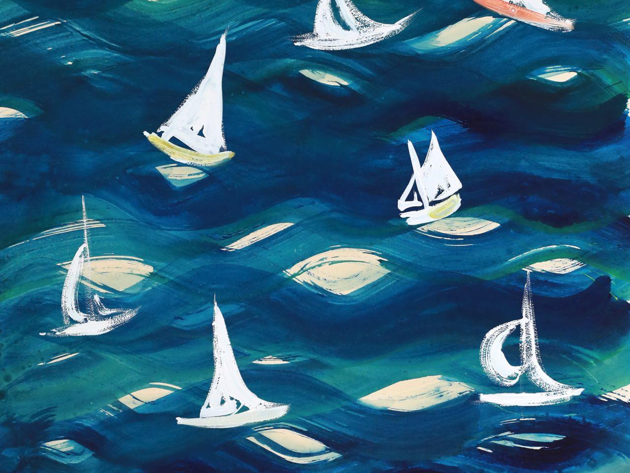 Auf Wellen tanzende Segelboote. Musterentwurf
