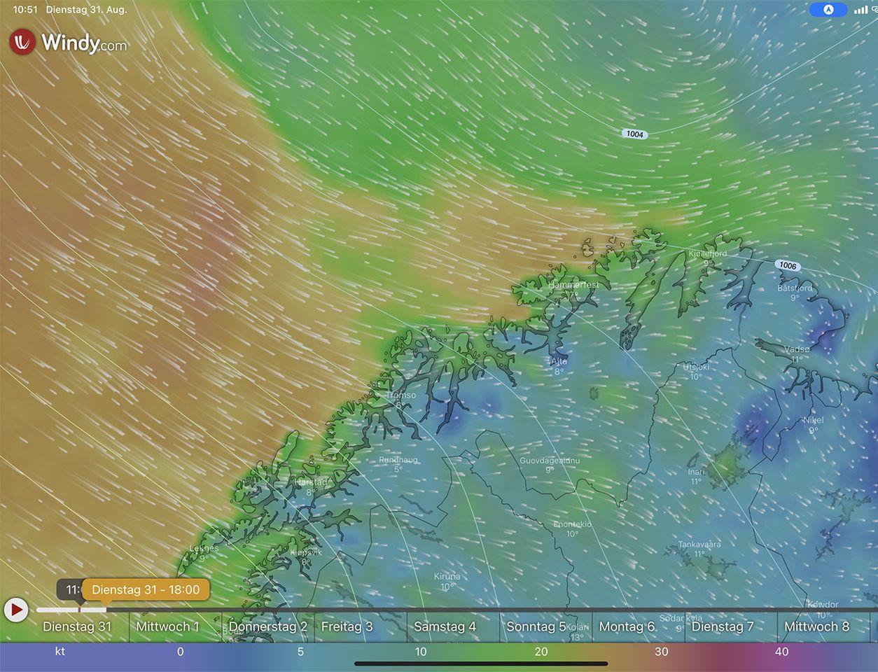 Windy, Wetterlage 31.08.2021