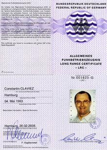 Long Range Certificate, Funkschein Constantin Claviez