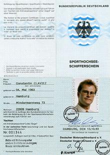 Sporthochseeschifferschein, Constantin Claviez